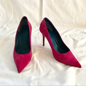 CELINE hot pink suede pumps - size 37.5